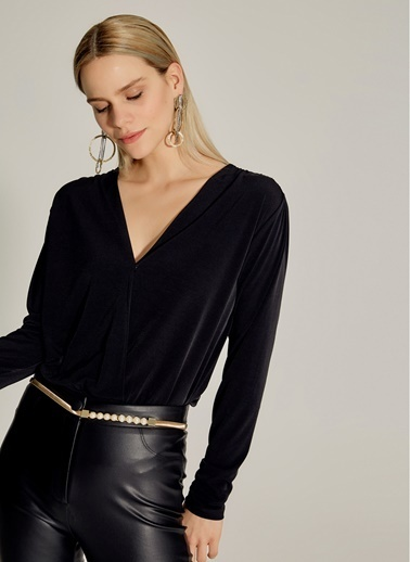 NGSTYLE Kruvaze Çıt Çıtlı Bluz Siyah